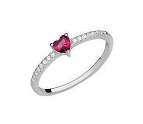 Srebrny delikatny pierścionek pr.925 cyrkonia rubinowa serce