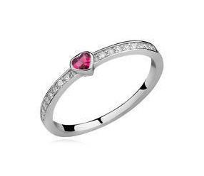 Srebrny delikatny pierścionek pr.925 cyrkonia rubinowa