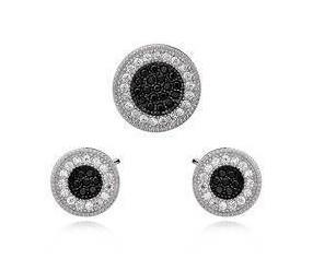 Srebrny elegancki komplet z cyrkonią pr.925 okrągły, biało-czarny