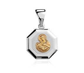 Srebrny medalik Matka Boska karmiąca pozłacana