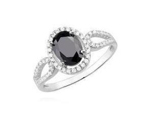 Srebrny pierścionek pr.925 z czarną cyrkonią