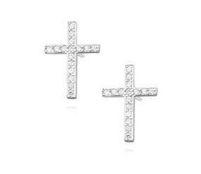Srebrne kolczyki pr. 925 z cyrkoniami - krzyżyki