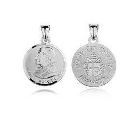 Srebrny medalik Święty Jan Paweł ll, okrągły