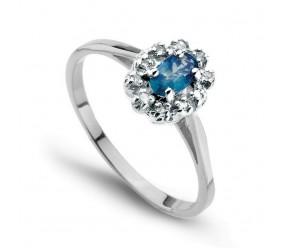 Staviori Pierścionek. 10 Diamentów, szlif achtkant, masa 0,05 ct., barwa H-J, czystość SI2-I1. 1 Szafir, masa 0,30 ct.. Białe Złoto 0,585.