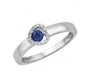 Staviori Pierścionek. 16 Diamentów, szlif brylantowy, masa 0,07 ct., barwa H, czystość SI2. 1 Szafir, masa 0,20 ct.. Białe Złoto 0,585. Średnica korony ok. 5,2 mm.