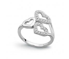 Staviori Pierścionek. 30 Diamentów, szlif brylantowy, masa 0,25 ct., barwa H, czystość SI2. Białe Złoto 0,585. Szerokość 12 mm.