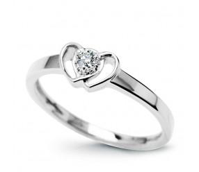 Staviori Pierścionek dwa serca z Diamentem, szlif brylantowy, masa 0,05 ct., barwa H, czystość SI1. Białe Złoto 0,585.