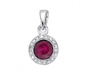 Staviori Wisiorek. 9 Diamentów, szlif brylantowy, masa 0,04 ct., barwa H, czystość SI2. 1 Rubin, masa 0,50 ct.. Białe Złoto 0,585. Średnica 6,2 mm. Długość 11 mm.