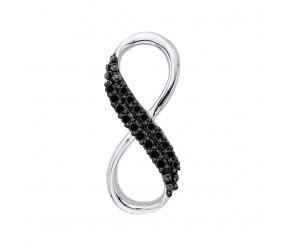 Staviori Wisiorek Nieskończoność 18 Diamentów, kolor czarny, szlif brylantowy, masa 0,07 ct.. Białe Złoto 0,585. Wymiary 5x15 mm.