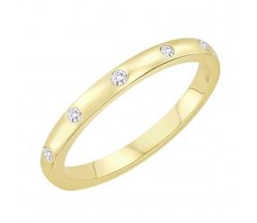 Staviori Obrączka. 6 Diamentów, szlif brylantowy, masa 0,08 ct., barwa H, czystość SI2. Żółte Złoto 0,585. Szerokość 2 mm. Grubość 1,2 mm.  Dostępne inne kolory złota.