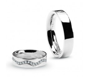 Staviori Obrączka. 40 Diamentów, szlif brylantowy, masa 0,40 ct., barwa G-H, czystość SI1. Białe Złoto 0,585. Szerokość 5 mm.  Cena i masa kamieni dla rozmiaru 10. Dostępne inne kolory złota.