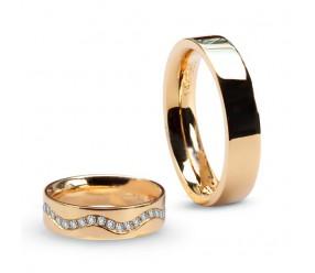 Staviori Obrączka Damska. 40 Diamentów, szlif brylantowy, masa 0,40 ct., barwa G-H, czystość SI1. Żółte Złoto 0,585. Szerokość 5 mm.  Cena i masa kamieni dla rozmiaru 10. Cena dotyczy damskiej obrączki w rozmiarze 10. O cenę za komplet lub dla innego rozm