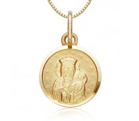 Staviori Wisiorek. Medalik. Żółte Złoto 0,585. Średnica 10 mm. Długość 17 mm.