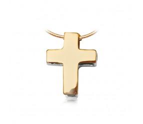 Staviori Wisiorek. Krzyżyk. Żółte, Białe Złoto 0,585. Wysokość 9 mm.  Dwustronny, Otwierany. Możliwość przypięcia na dowolny łańcuszek lub bransoletkę.