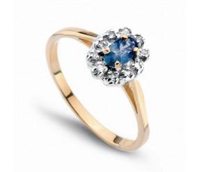 Staviori Pierścionek. 10 Diamentów, szlif achtkant, masa 0,05 ct., barwa H-J, czystość SI2-I1. 1 Szafir, masa 0,30 ct.. Żółte, Białe Złoto 0,585. Średnica korony ok. 6,5x8 mm. Wysokość 5 mm. Szerokość obrączki ok. 1 mm.