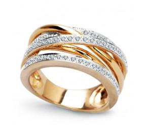 Staviori Pierścionek. 52 Diamenty, szlif brylantowy, masa 0,50 ct., barwa H, czystość SI2-I1. Żółte, Białe Złoto 0,585. Szerokość 8 mm.
