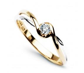 Staviori Pierścionek Nowoczesny, 1 Diament, szlif brylantowy, masa 0,10 ct., barwa G, czystość SI1. Żółte, Białe Złoto 0,585. Szerokość 5-2 mm. Wysokość 3 mm.