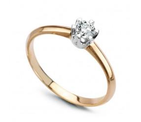 Staviori Pierścionek zaręczynowy. 1 Diament, szlif brylantowy, masa 0,14 ct., barwa H, czystość SI2. Żółte, Białe Złoto 0,585