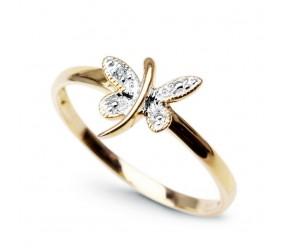 Staviori Pierścionek. 1 Diament, szlif achtkant, masa 0,005 ct., barwa H, czystość I1. Żółte, Białe Złoto 0,585. Średnica korony ok. 8x9 mm. Szerokość obrączki ok. 1,5 mm.
