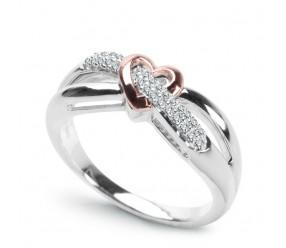 Staviori Pierścionek Serce 29 Diamentów, szlif brylantowy, masa 0,11 ct., barwa G, czystość VS1-VS2. Białe, Różowe Złoto 0,585. Szerokość 7 mm.