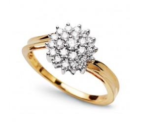 Staviori Pierścionek. 22 Diamenty, szlif brylantowy, masa 0,34 ct., barwa G, czystość SI1. Żółte, Białe Złoto 0,750. Szerokość obrączki ok. 1,3-2,3 mm. Średnica korony ok. 9,20 mm. Wysokość 5,4 mm.
