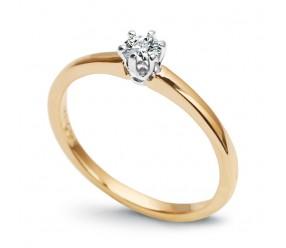 Staviori Pierścionek. 1 Diament, szlif brylantowy, masa 0,15 ct., barwa G, czystość SI1. Żółte, Białe Złoto 0,585
