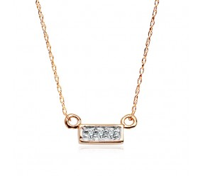 Staviori Naszyjnik. 3 Diamenty, szlif achtkant, masa 0,015 ct., barwa H, czystość I1-I2. Żółte Złoto 0,585. Szerokość 5 mm.  Długość regulowana 40cm lub 43cm.