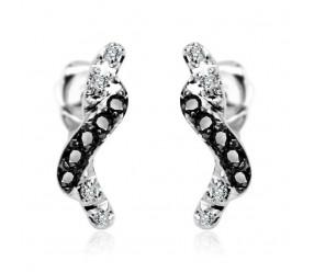 Staviori Kolczyki. 8 Diamentów, szlif brylantowy, masa 0,04 ct., barwa H, czystość I1. 10 Diamentów, kolor czarny, szlif brylantowy, masa 0,10 ct.. Białe Złoto 0,585. Wymiary 3x14 mm.