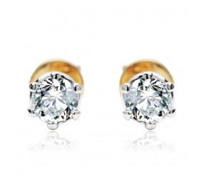 Staviori Kolczyki. 2 Diamenty, szlif brylantowy, masa 0,50 ct., barwa G, czystość SI1. Żółte Złoto 0,585. Średnica korony ok. 4,60 mm. Korona 4,95 mm. Długość 16 mm.