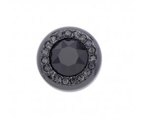 element czarny stal szlachetna do pierścionka magnetycznego z czarnym kryształem Swarovskiego 2626-4