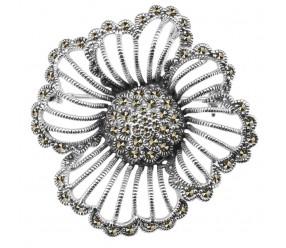 Staviori Broszka Kwiat. Wisiorek. Markazyty. Srebro rodowane 0,925. Wymiary 42x43 mm.
