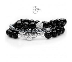 Ivy Bransoleta.   BLACK BLING-BLING       Zestaw trzech bransoletek:     czarny hematyt fasetowany,    czarny agat gładki    czarne kryształki fasetowane