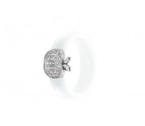 srebrny pierścionek biały z ceramiki PCS110BS srebrne jabłko z cyrkoniami