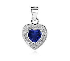 Srebrna zawieszka pr.925 serce z szafirową/niebieską cyrkonią