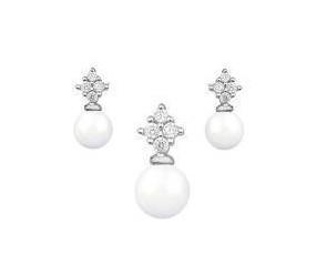 Srebrny pr.925 komplet biżuterii z perłami i cyrkoniami pr.925