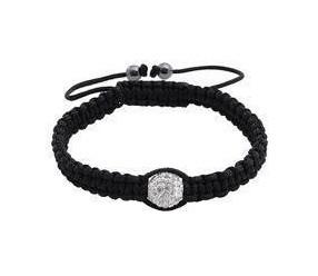 Bransoletka sznurkowa z białą ozdobną kulką Crystal Beads z hematytem
