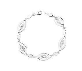 Srebrna bransoletka pr.925 Cyrkonia biała podłużna