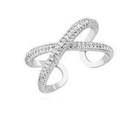 Srebrny nowoczesny pierścionek pr.925 kształt X z białą cyrkonią