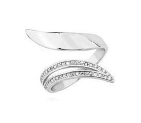 Srebrny pierścionek otwarty pr.925 z białą cyrkonią