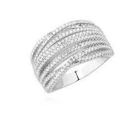Srebrny pierścionek Duży pr.925 ozdobiony wieloma białymi cyrkonimi