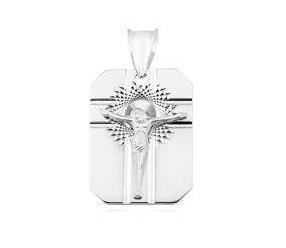 Srebrny ozdobny diamentowany medalik pr.925 Jezus na krzyżu