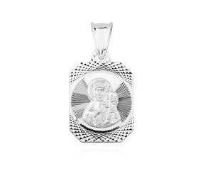 Srebrny medalik Matka Boska Częstochowska grawerowany