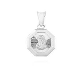 Srebrny pr.925 medalik Matka Boska Częstochowska symetryczny