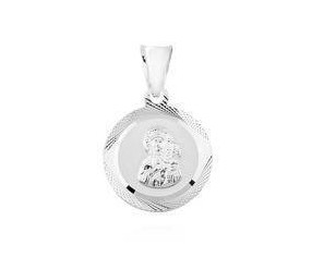 Okrągły ozdobny Srebrny (925) medalik Matka Boska Częstochowska