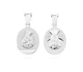 Srebrny medalik (925) Jezus Matka / Boska Szkaplerzna o owalnym kształcie