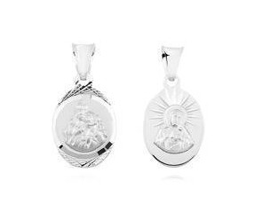 Srebrny medalik Jezus Matka / Boska Szkaplerzna, owalny kształt