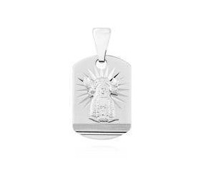 Srebrny (pr.925) medalik podłużny diamentowany Matka Boska Nieustającej pomocy