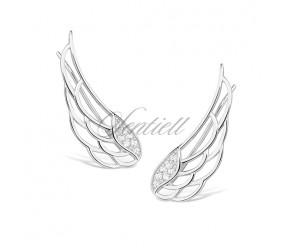 Srebrne kolczyki pr. 925 nausznice skrzydła z cyrkoniami