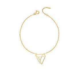 Srebrna bransoletka damska pr.925 - Origami trójkąt styl, pozłacana