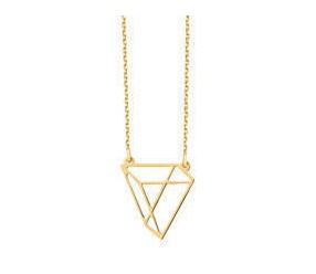Delikatny Srebrny naszyjnik pr.925 - Origami trójkąt styl, pozłacany